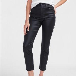 Super high waist coated slim jeans